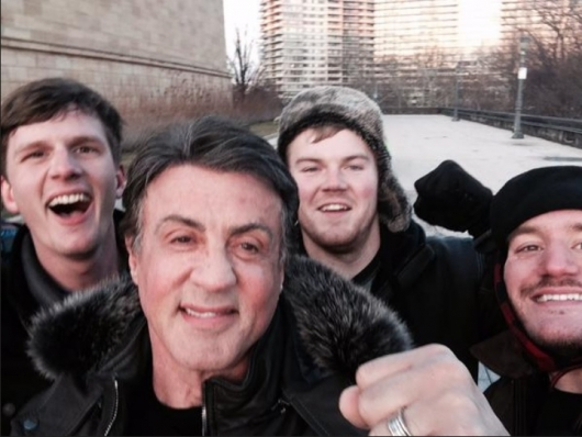Sylvester Stallone With Fans Near Rocky Steps