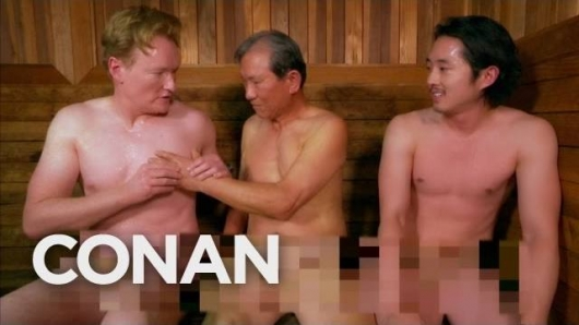 Conan O'Brien and Steven Yeun naked at Korean Spa on Conan