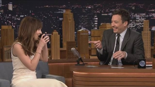 Fifty Shades Of Grey Star Dakota Johnson with Jimmy Fallon on The Tonight Show Make Anything Sexy