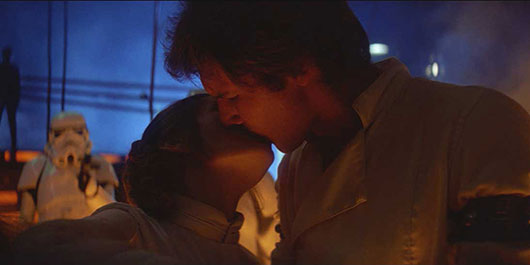 Star Wars The Empires Strikes Back Han and Leia kiss