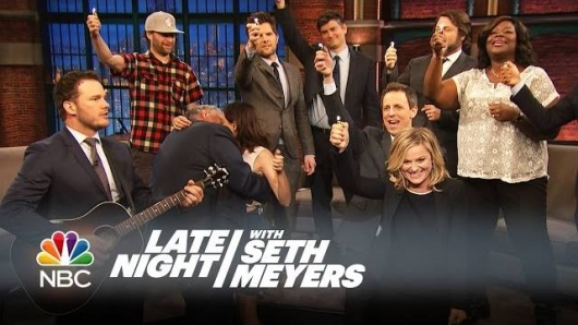 Parks and Recreation cast sings Bye, Bye Li'l Sebastian On Late Night With Seth Meyers