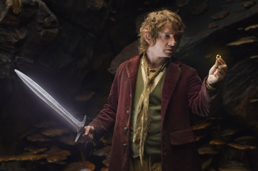 The Hobbit Martin Freeman as Bilbo Baggins with One Ring and Sting