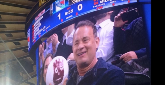 Tom Hanks and Wilson At The NY Rangers Game February 4, 2015