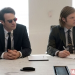Marvel's Daredevil Matt Murdock (Charlie Cox) counsels with Foggy Nelson (Elden Henson)
