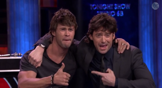 Hugh Jackman & Chris Hemsworth rock mullets for Musical Beers on The Tonight Show