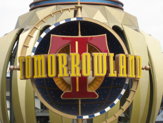 Tomorrowland sign at entrance of Disneyland