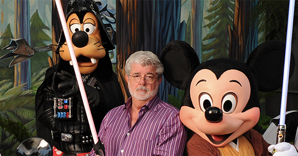George Lucas, Goofy, and Mickey Mouse