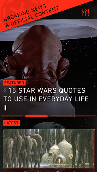 Star Wars App Screenshot Quotes