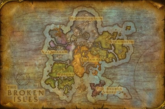 World of Warcraft: Legion Broken Isles Map