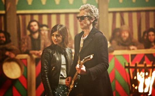 Peter Capaldi plays a Strat as Jenna Coleman looks on in Doctor Who 9.1