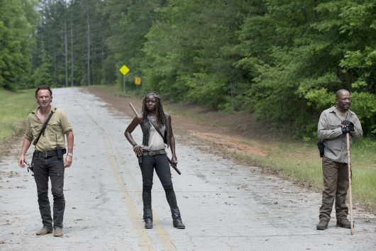 Andrew Lincoln as Rick Grimes, Danai Gurira as Michonne and Lennie James as Morgan Jones - The Walking Dead