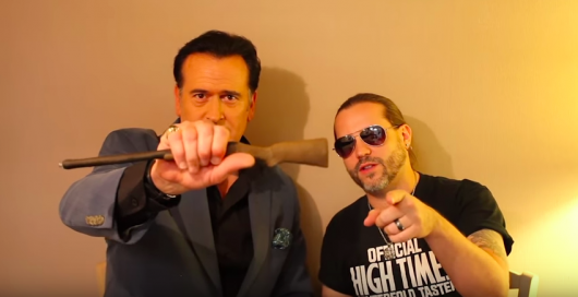 Ash vs Evil Dead star Bruce Campbell with High Times editor Bobby Black
