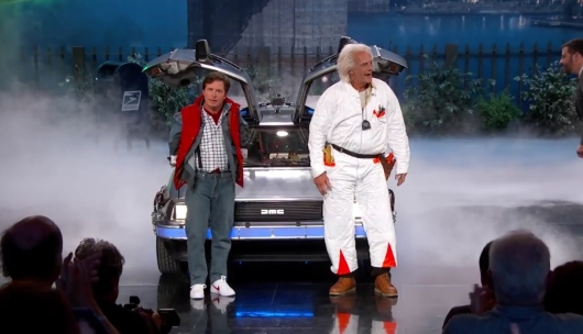 Michael J. Fox and Christopher Lloyd as Marty McFly and Doc Brown on Jimmy Kimmel Live!