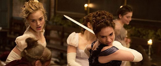 Pride and Prejudice and Zombies movie Bennett sisters fighting