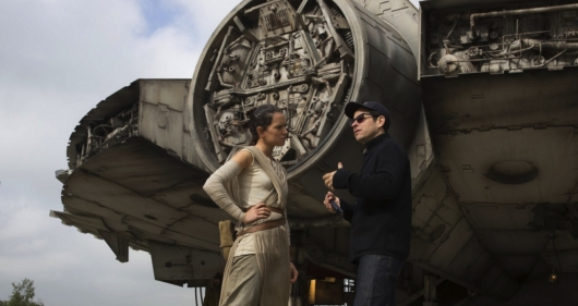 Star Wars The Force Awakens star Daisy Ridley and director J.J. Abrams