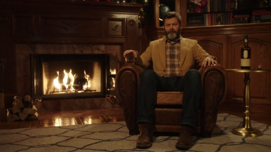 Nick Offerman Sipping Whisky