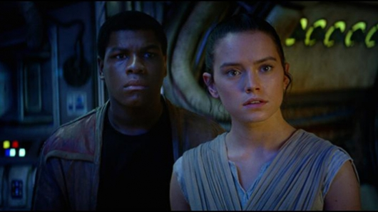 John Boyega and Daisy Ridley in Star Wars: The Force Awakens