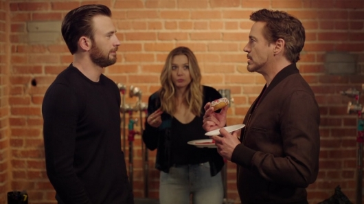 Captain America (Chris Evans) and Iron Man (Robert Downey Jr.) Face Off Over the Last Donut