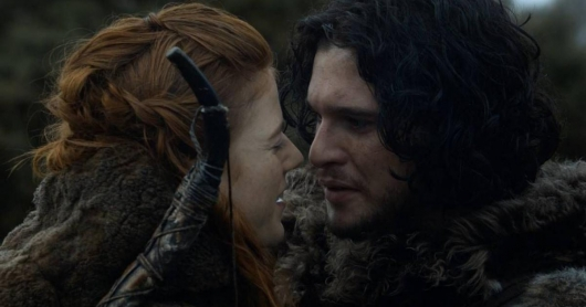 Game of Thrones Ygritte (Rose Leslie) and Jon Snow (Kit Harington)