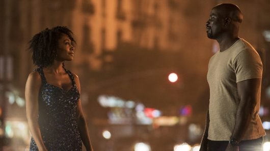 Netflix Marvel Luke Cage Episode 1.1 Mike Colter as Luke Cage Simone Missick as Misty Knight
