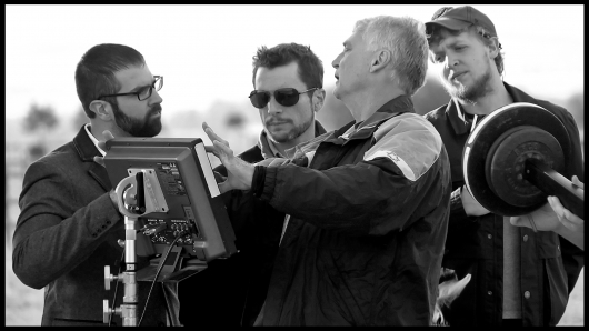 Second Nature director Michael Cross on set with crew