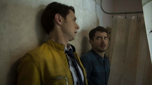 Dirk Gently Dirk and Todd in the shower