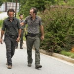 Andrew Lincoln as Rick Grimes, Ross Marquand as Aaron, Steven Ogg as Simon - The Walking Dead, Season 7, Episode 9