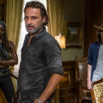 Danai Gurira as Michonne, Andrew Lincoln as Rick Grimes, Chandler Riggs as Carl Grimes - The Walking Dead, Season 7, Episode 9
