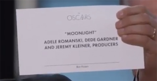 Oscars 2017 Moonlight Best Picture award card