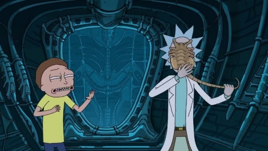 Rick and Morty Encounter Alien Facehugger