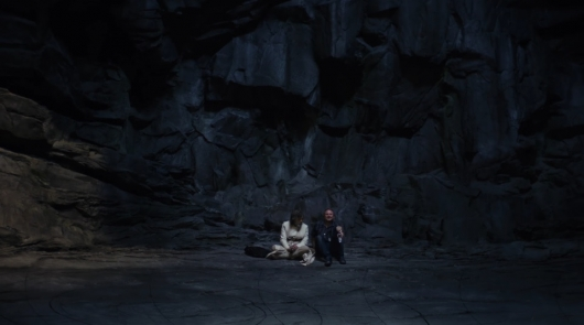 Mark Hamill and Rian Johnson On The Set Of Star Wars: The Last Jedi