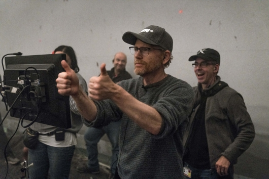 Ron Howard on the set of SOLO: A STAR WARS STORY.