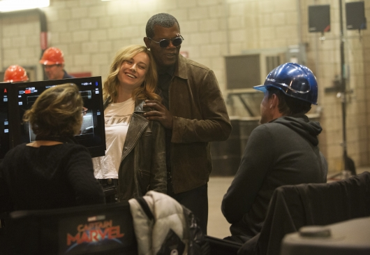 Brie Larson and Samuel L. Jackson in Captain Marvel