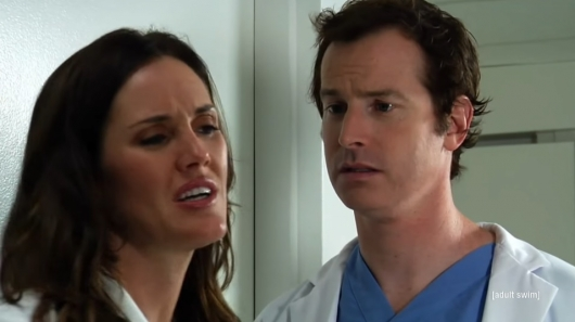 Erinn Hayes and Rob Huebel in Childrens Hospital