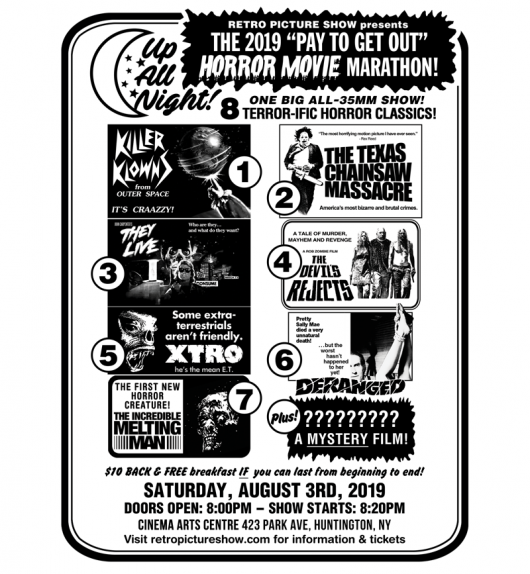 2019 Up All Night Pay To Get Out Horror Movie Marathon flyer